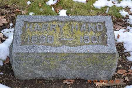 HAND, HARRY - Branch County, Michigan | HARRY HAND - Michigan Gravestone Photos