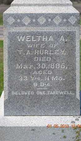 HURLEY, WELTHA A.(CLOSEUP) - Branch County, Michigan   WELTHA A.(CLOSEUP) HURLEY - Michigan Gravestone Photos