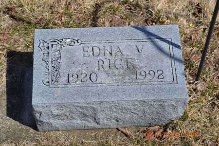 RICE, EDNA V. - Branch County, Michigan   EDNA V. RICE - Michigan Gravestone Photos