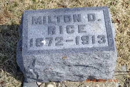 RICE, MILTON D. - Branch County, Michigan | MILTON D. RICE - Michigan Gravestone Photos