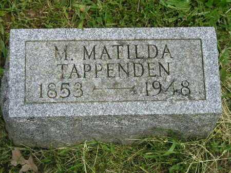 TAPPENDEN, M. MATILDA - Branch County, Michigan   M. MATILDA TAPPENDEN - Michigan Gravestone Photos