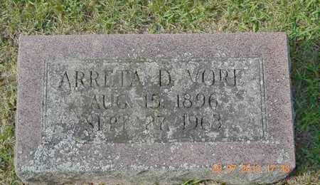 VORE, ARRETA D. - Branch County, Michigan   ARRETA D. VORE - Michigan Gravestone Photos
