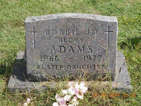 "ADAMS, BOBBIE JO ""BECKY"" - Calhoun County, Michigan | BOBBIE JO ""BECKY"" ADAMS - Michigan Gravestone Photos"