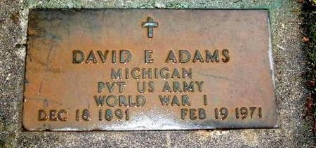 ADAMS, DAVID E. - Calhoun County, Michigan | DAVID E. ADAMS - Michigan Gravestone Photos