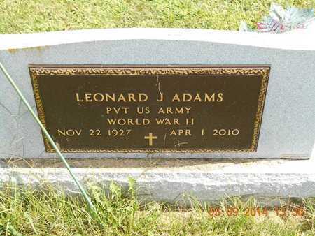 ADAMS, LEONARD J. - Calhoun County, Michigan | LEONARD J. ADAMS - Michigan Gravestone Photos