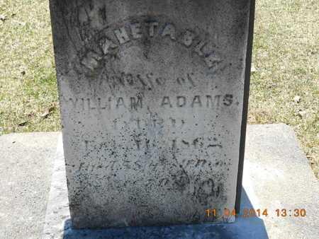 ADAMS, MAHETABLE - Calhoun County, Michigan   MAHETABLE ADAMS - Michigan Gravestone Photos