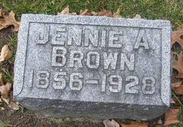 BROWN, JENNIE A - Calhoun County, Michigan | JENNIE A BROWN - Michigan Gravestone Photos