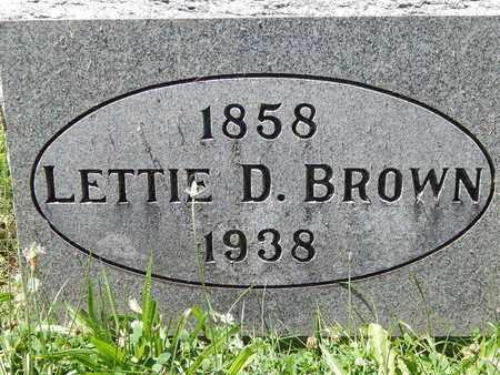 BROWN, LETTIE D. - Calhoun County, Michigan | LETTIE D. BROWN - Michigan Gravestone Photos