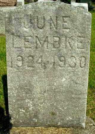 LEMBKE, JUNE - Calhoun County, Michigan | JUNE LEMBKE - Michigan Gravestone Photos