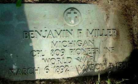 MILLER, BENJAMIN F - Calhoun County, Michigan   BENJAMIN F MILLER - Michigan Gravestone Photos