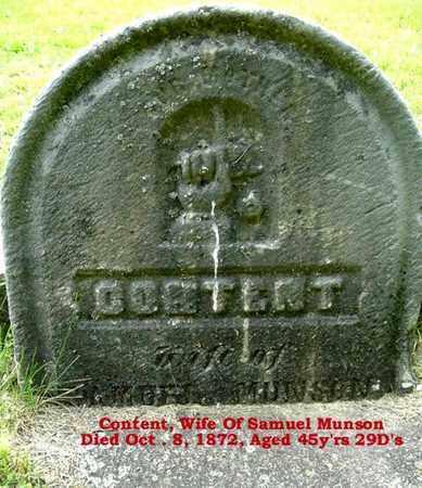 MUNSON, CONTENT - Calhoun County, Michigan   CONTENT MUNSON - Michigan Gravestone Photos