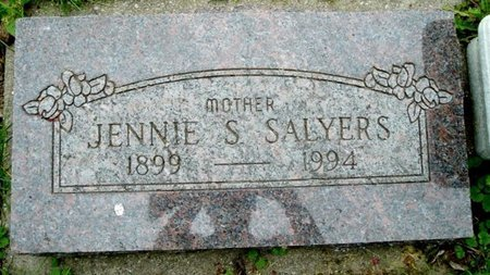 SALYERS, JENNIE - Calhoun County, Michigan | JENNIE SALYERS - Michigan Gravestone Photos
