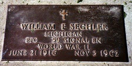 SECHLER, WILLIAM F. - Calhoun County, Michigan | WILLIAM F. SECHLER - Michigan Gravestone Photos