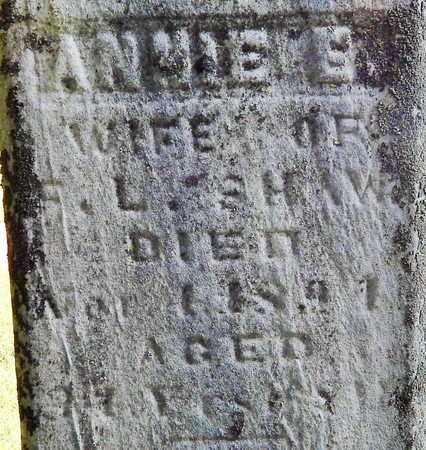 SHAW, ANNIE E - Calhoun County, Michigan   ANNIE E SHAW - Michigan Gravestone Photos