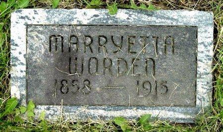 WORDEN, MARRYETTA - Calhoun County, Michigan   MARRYETTA WORDEN - Michigan Gravestone Photos