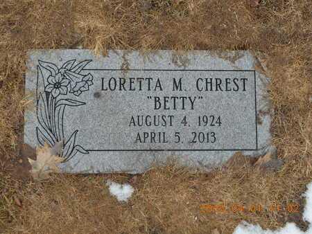 """CHREST, LORETTA M. """"BETTY"""" - Marquette County, Michigan   LORETTA M. """"BETTY"""" CHREST - Michigan Gravestone Photos"""