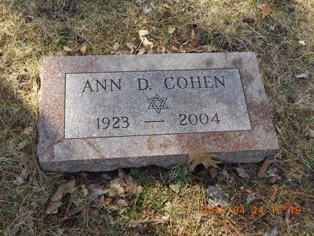 COHEN, ANN D. - Marquette County, Michigan | ANN D. COHEN - Michigan Gravestone Photos