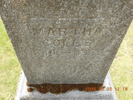COLES, MARTHA - Marquette County, Michigan | MARTHA COLES - Michigan Gravestone Photos