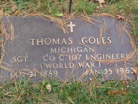 COLES, THOMAS - Marquette County, Michigan   THOMAS COLES - Michigan Gravestone Photos