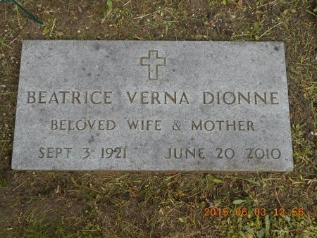 DIONNE, BEATRICE VERNA - Marquette County, Michigan | BEATRICE VERNA DIONNE - Michigan Gravestone Photos