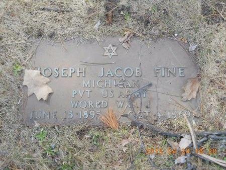 FINE, JOSEPH JACOB - Marquette County, Michigan   JOSEPH JACOB FINE - Michigan Gravestone Photos