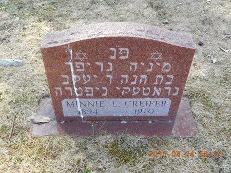 GREIFER, MINNIE L. - Marquette County, Michigan   MINNIE L. GREIFER - Michigan Gravestone Photos