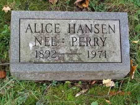 HANSEN, ALICE - Marquette County, Michigan | ALICE HANSEN - Michigan Gravestone Photos