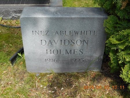DAVIDSON HOLMES, INEZ A. - Marquette County, Michigan | INEZ A. DAVIDSON HOLMES - Michigan Gravestone Photos