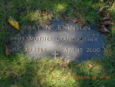 JOHNSON, MARY N. - Marquette County, Michigan | MARY N. JOHNSON - Michigan Gravestone Photos