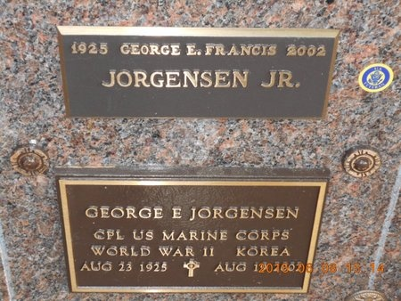 JORGENSEN, JR., GEORGE E. FRANCIS - Marquette County, Michigan   GEORGE E. FRANCIS JORGENSEN, JR. - Michigan Gravestone Photos