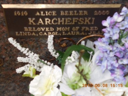 KARCHEFSKI, ALICE - Marquette County, Michigan | ALICE KARCHEFSKI - Michigan Gravestone Photos