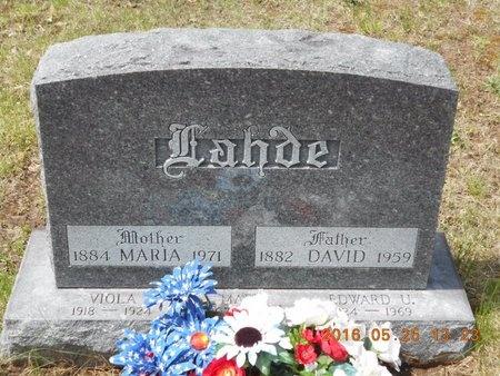 LAHDE, MARIA - Marquette County, Michigan | MARIA LAHDE - Michigan Gravestone Photos