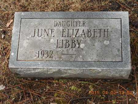 LIBBY, JUNE ELIZABETH - Marquette County, Michigan | JUNE ELIZABETH LIBBY - Michigan Gravestone Photos