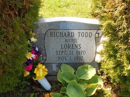 LORENS, RICHARD TODD - Marquette County, Michigan | RICHARD TODD LORENS - Michigan Gravestone Photos