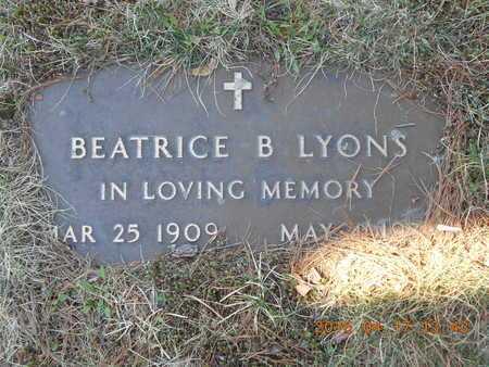 LYONS, BEATRICE B. - Marquette County, Michigan | BEATRICE B. LYONS - Michigan Gravestone Photos