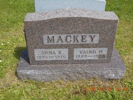 MACKEY, VAINO H. - Marquette County, Michigan | VAINO H. MACKEY - Michigan Gravestone Photos