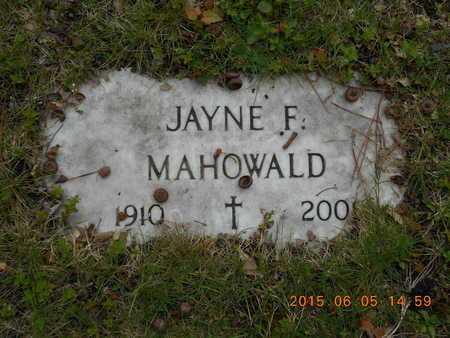 MAHOWALD, JAYNE F. - Marquette County, Michigan | JAYNE F. MAHOWALD - Michigan Gravestone Photos