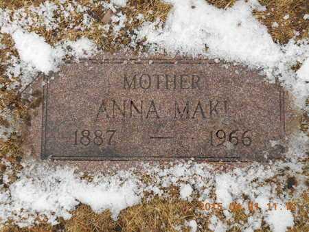 MAKI, ANNA - Marquette County, Michigan   ANNA MAKI - Michigan Gravestone Photos