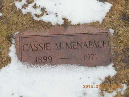 MENAPACE, CASSIE M. - Marquette County, Michigan | CASSIE M. MENAPACE - Michigan Gravestone Photos