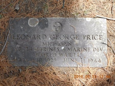 PRICE, LEONARD GEORGE - Marquette County, Michigan | LEONARD GEORGE PRICE - Michigan Gravestone Photos