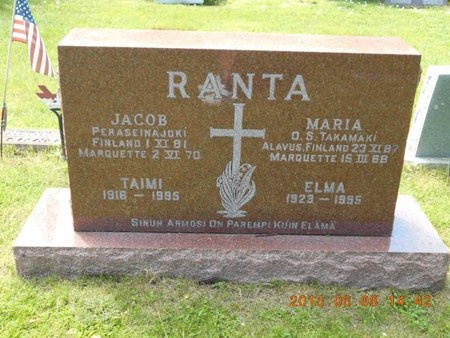 RANTA, ELMA - Marquette County, Michigan | ELMA RANTA - Michigan Gravestone Photos