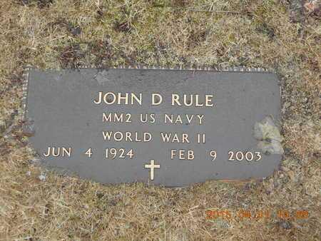RULE, JOHN D. - Marquette County, Michigan | JOHN D. RULE - Michigan Gravestone Photos