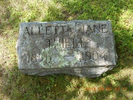 THIELL, ALETTA JANE - Marquette County, Michigan | ALETTA JANE THIELL - Michigan Gravestone Photos