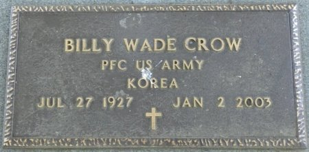 CROW (VETERAN KOR), BILLY WADE (NEW) - Alcorn County, Mississippi | BILLY WADE (NEW) CROW (VETERAN KOR) - Mississippi Gravestone Photos