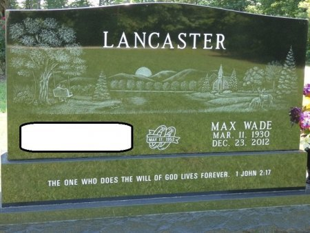 LANCASTER, MAX WADE - Alcorn County, Mississippi   MAX WADE LANCASTER - Mississippi Gravestone Photos