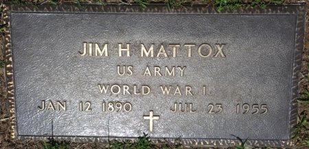 "MATTOX (VETERAN WWI), JAMES HARRISON ""JIM"" (NEW) - Alcorn County, Mississippi 
