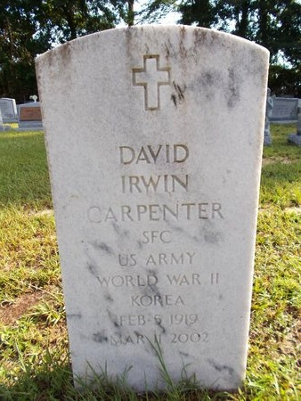 CARPENTER (VETERAN 2 WARS), DAVID IRWIN (NEW) - Hancock County, Mississippi | DAVID IRWIN (NEW) CARPENTER (VETERAN 2 WARS) - Mississippi Gravestone Photos