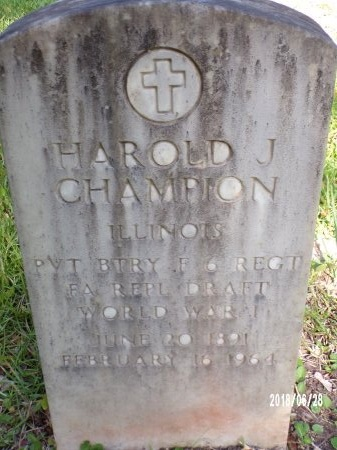 CHAMPION (VETERAN WWI), HAROLD J (NEW) - Hancock County, Mississippi | HAROLD J (NEW) CHAMPION (VETERAN WWI) - Mississippi Gravestone Photos
