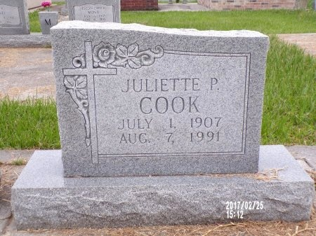COOK, JULIETTE P - Hancock County, Mississippi   JULIETTE P COOK - Mississippi Gravestone Photos
