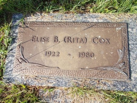 "COX, ELISE B ""RITA"" - Hancock County, Mississippi   ELISE B ""RITA"" COX - Mississippi Gravestone Photos"